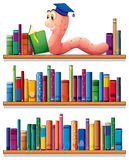 An earthworm reading at the top of the bookshelves Stock Photo
