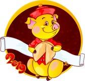 Желтая Earthy свинья с печеньем с предсказанием на Новый Год 2019 отрезок стоковое фото