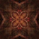 Earthy Kaleidoscope Abstract. Kaleidoscopic design in earthy tones of golden brown - digital abstract background Royalty Free Stock Image
