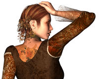 Earthy Muse. In her beautiful earthy textured clothing, she stops to catch her breath Stock Photos