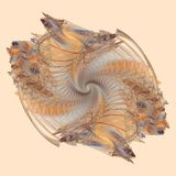 Earthy Spiral. A flame fractal in earth tones, a double spiral. Made in Apophysis stock illustration