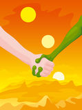 Eartman and alien. Hand shake of the person and the alien on a background of a landscape with the orange sky and three sun Royalty Free Stock Images