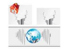 Eartquake and house Stock Photography
