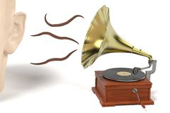 Earworm - musical worm getting from gramophone to ear Royalty Free Stock Photos