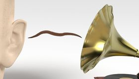 Earworm - musical worm getting from gramophone to ear Stock Image