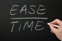 Ease Over Time. Written by hand on a blackboard. Important factors during strategic planning, cost benefit analysis and process improvement royalty free stock photo