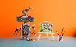 Easel καλλιτεχνών ρομπότ ξύλινα ακόμα λουλούδια τουλιπών έργου τέχνης ζωής Σχεδιασμός σχολικών οπτικός τεχνών στούντιο αφισών δια στοκ εικόνες