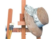 Easel. Background on a theme of painting Stock Images