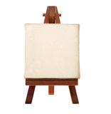 Easel. A customizable blank canvas on a wooden tripod Royalty Free Stock Photo