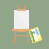 Easel art board vector isolated for some artist with paint palette paper canvas artboard and themed kids creativity royalty free illustration