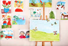 Easel in art class. Interior stock images