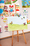 Easel in art class. Interior stock photo