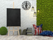 Easel with blank black canvas in the loft interior, 3d illustration. royalty free illustration