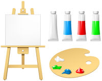Easel with blank board and palette Stock Images