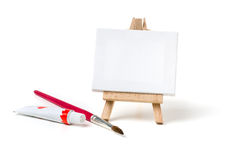 An easel with a blank canvas Stock Photo