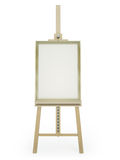 Easel with blank picture. Wooden easel with blank framed picture on white background. 3D render Stock Photography