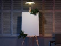 Easel and blank white canvas with christmas decoration. 3d rendering. stock illustration