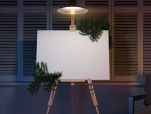 Easel and blank white canvas with christmas decoration. 3d rendering. royalty free illustration