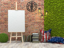 Easel with blank white canvas in the loft interior royalty free illustration