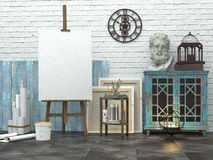 Easel with blank white canvas in the loft interior, 3d illustration of the artist`s studio.  stock illustration