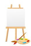 Easel with Color Palette. Illustration of easel with color brush and palette Stock Photography