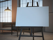 Easel with empty canvas . 3d rendering. Easel with empty canvas in interior. 3d rendering Royalty Free Stock Image