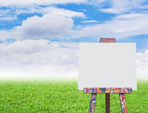 Easel with empty canvas Stock Photos