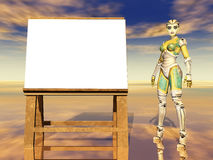 Easel and female robot Royalty Free Stock Photos