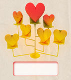 Easel with golden and red hearts card template Stock Images