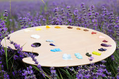 Easel in lavender field Royalty Free Stock Photos