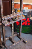 Easel in painters atelier Stock Photos