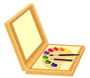 Easel with paints Stock Photos