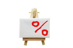 Easel with a percent sign Stock Photography