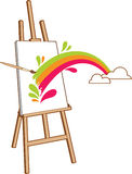 Easel with rainbow Royalty Free Stock Images