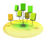 Easel with several yellow green books on circle platform Royalty Free Stock Photos