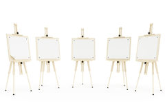Easels. Five  wooden easels on the white background Stock Photo
