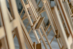 Easels in the studio. Close-up easels in the studio Royalty Free Stock Photos