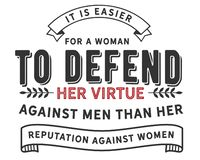 It is easier for a women to defend her virtue against men than her reputation against women. Motivational quote royalty free illustration