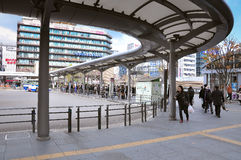The easiest way to travel in Kyoto is by using a local bus.The bus terminal is located in front of JR Kyoto Station Stock Photos