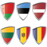 East 2 Europe Shield Flag Royalty Free Stock Photos