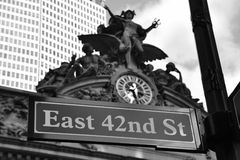 East 42nd Street. E 42nd St Sing in front of Grand Central Station Royalty Free Stock Photo