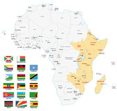 East africa map with flags Royalty Free Stock Photography