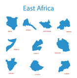East africa - maps of territories - vector Royalty Free Stock Photo