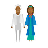 East africa national dress. Illustration of african couple on white background Royalty Free Stock Images