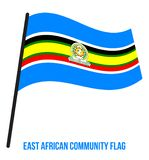 East African Community Flag Waving Vector Illustration on White Background. stock illustration