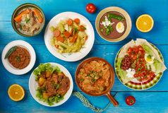 East African. Cuisine - Traditional assorted dishes, Top view royalty free stock photo