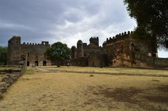 The former capital of Ethiopia, Gondar with the fortress of Fassil-Gebbi. East African. Ethiopia. Gondar with the fortress of Fassil-Gebbi royalty free stock photography
