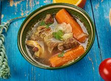 East African Hilb. East African cuisine - Hilb - somali lamb stew, Traditional assorted African  dishes, Top view Stock Images