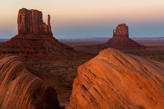 Free East And West Mitten Buttes At Sunset, Monument Valley Navajo Tribal Park On The Arizona-Utah Border, Royalty Free Stock Photo - 121730315
