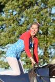 East Anglia Equestrian Fair girl kneeling on horseback Stock Photography
